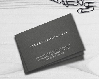 Traditional Business Cards | Grey Business Cards | White Ink | Modern Business Cards | Gift for Men | Custom | Printed Business Cards