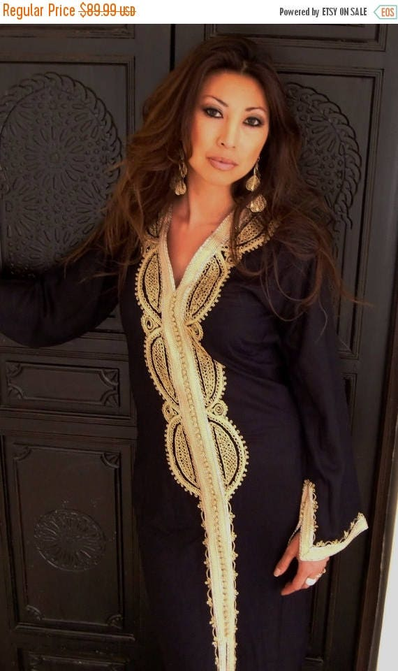 KAFTAN 20% SALE/ Black Moroccan Caftan Kaftan -Lella  Style -Luxury loungewear, traditional abayas, resortwear, Birthdays or Maternity Gifts