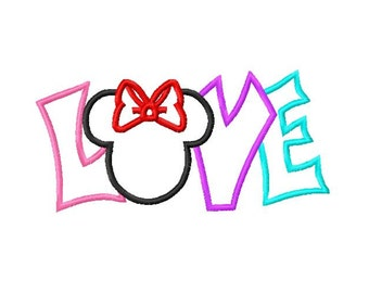 Miss Mouse Love Valentines Embroidery Applique Design - digital download for Embroidery Machines