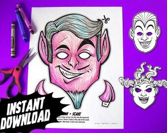 PRINTABLE Monster Coloring Masks, 3 kids paper halloween masks, DIY halloween costume parties, devil medusa vampire, instant download PDF
