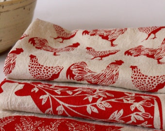 Tea Towel, Hand Printed, Red Farm Prints, 3 Natural Cotton Towels