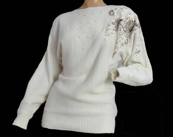 Avant Garde Vintage 1980s Sweater Embellished Beaded Sweater Acrylic White Pullover Batwing Sleeves Applique Pearls Sequins