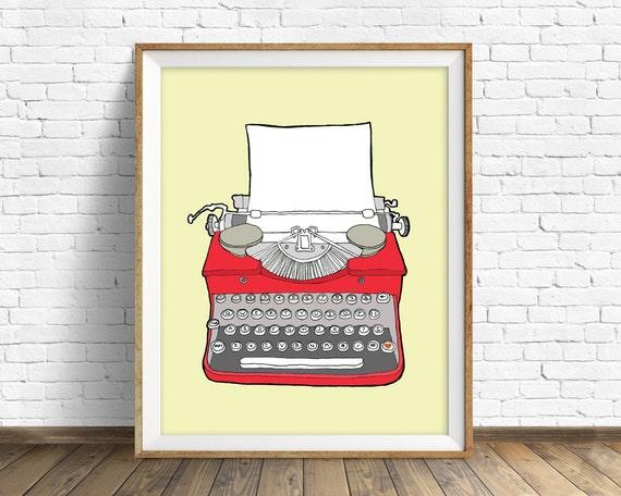 """drawing, vintage typewriter, large wall art, modern home decor, mid century modern, illustration, red art, poster-""""Vintage Typewriter No. 3"""""""