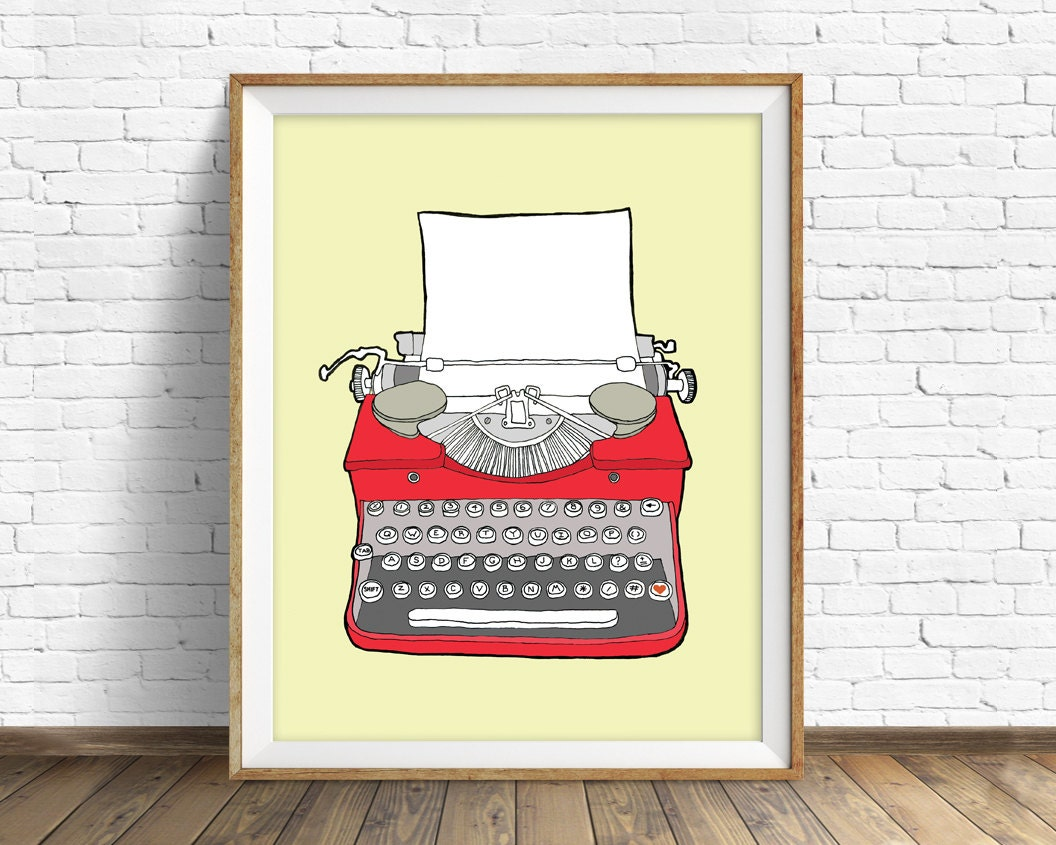 drawing, vintage typewriter, large wall art, modern home decor, mid ...
