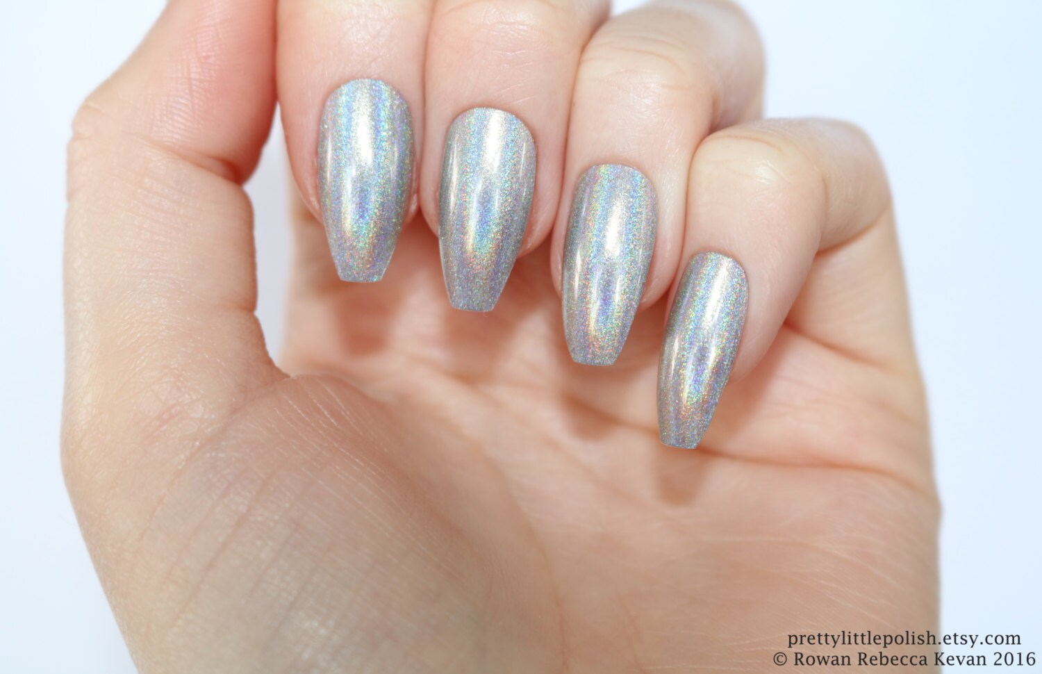 Holographic coffin nails silver Holographic nails Fake nail