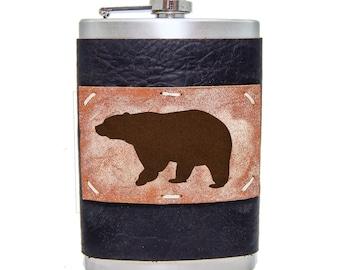 Black Bear Flask 8oz Homemade in Aspen in Midnight Espresso