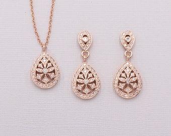 Art Deco Jewelry Set, Rose Gold Cubic Zirconia Jewelry Set, art deco wedding necklace set, bridal jewelry, Paris Art Deco Jewelry Set