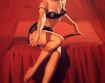 ELVGREN - I'm NOT SHY  - Pinup - Burlesque Lingerie Pin Up - Art Deco - Romantic in sheer bra panties garter belt stockings Signed print.