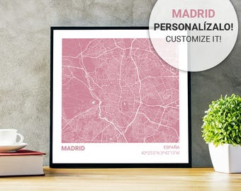 Poster map pink of Madrid (Spain) 23 x 23. Custom text. Ideal plate for decoration or as a gift.