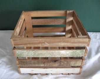 Rustic Barnwood Storage Crate