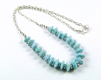 Larimar & Sterling Silver Necklace - N642