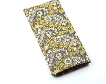 PAISLEY Fabric Sunglasses Case, Yellow and Gray Case, Gray Sunglasses Case