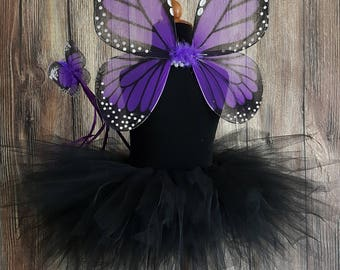 Girls Halloween Costume - Sewn 11'' Black Pixie Tutu & Monarch Butterfly Wings, Purple Butterfly Wings Costume with Butterfly Wand
