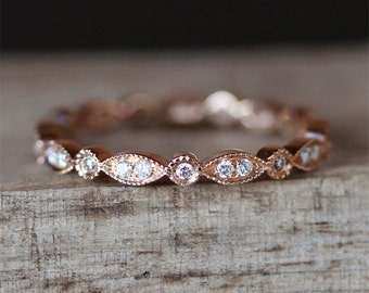Art Deco Full Eternity Pave Diamonds Ring Vintage Wedding Band Milgrain Bezel Ring Stackable Match Ring 14K Rose Gold Ring Bridal Ring