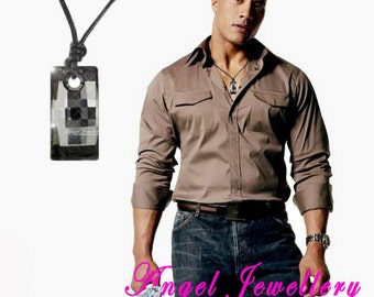 New Men's Dog Tag With Swarovski Silver Night Clear Crystal Adjustable Leather Necklace