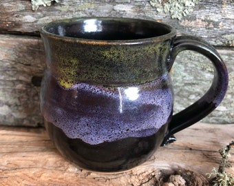 9 Ounces - Lilac Moss Mug - Wheel Thrown Pottery