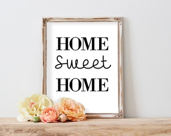 Home Sweet Home Printable, Rustic Art, Printable Art, Typography Art Print, Wreath Art, Housewarming Party Decorations, Quote poster