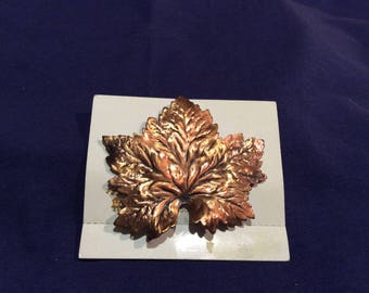 Reduced price Vintage copper maple leaf lapel pin by Maibel
