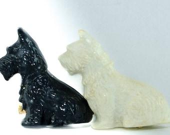 Vintage Plastic Scottish Terrier and Vintage Plastic West Highland White Terrier Together on Brooch Pin