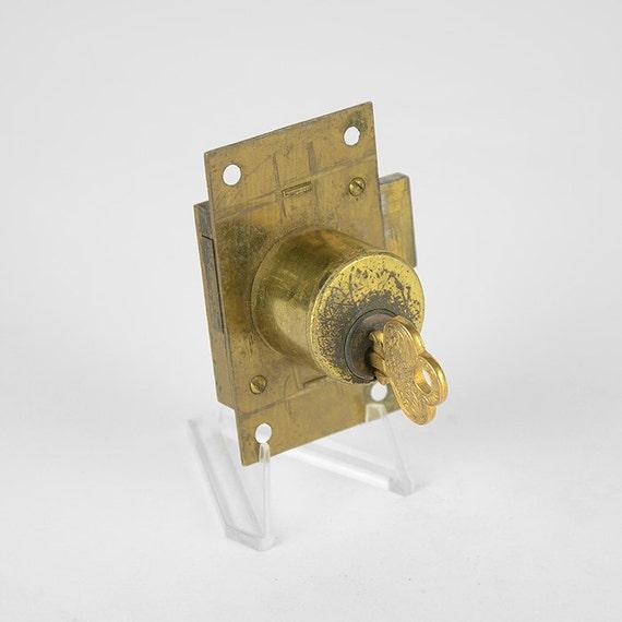 - Vintage Lock Surface Mount Barrel Lock Fancy Flat Keys