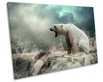 Polar Bear Arctic Picture CANVAS WALL ART Print