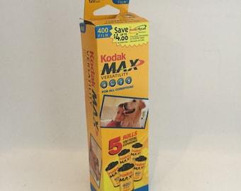 Vintage Kodak Max 400 speed 35mm film 3 Rolls unused expired 24 exposure each in box