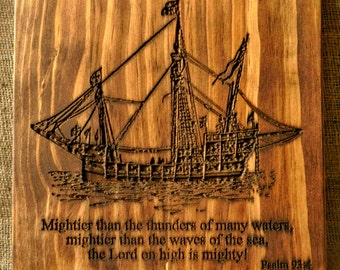 Ship Carving and Psalm 93:4  (with Free Shipping)