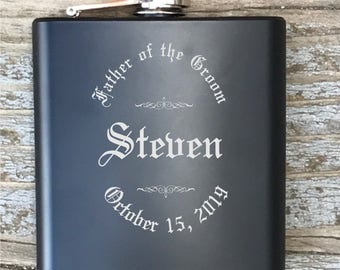 Personalized Father Of The Groom Flask Old English Circle Engraved Bachelor Party Gift Groomsmen
