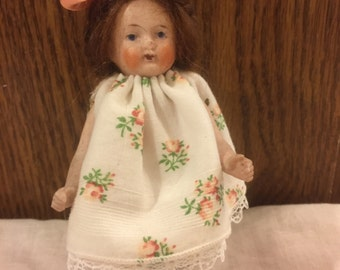 """Antique German all bisque 5"""" doll house doll"""