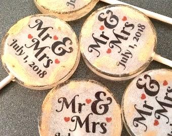 Mr. & Mrs. Personalized Lollipops-Hard Candy Lollipops- Wedding- Lollipops- Bridalshower