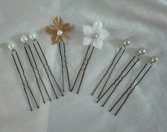 set of 8 bridal pins wedding pins hair accessories silk flower hair beads white / Brown cappuccino wedding holiday party