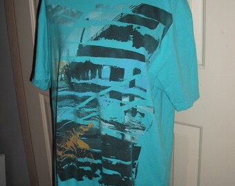 mens Vintage Hang Ten  surf T .. X Large .. Aqua .. turquoise .. graphic New Wave