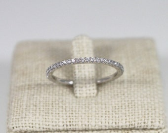 14K solid gold eternity band, 14K thin eternity band,  eternity CZ band, 14K engagement ring, 14k delicate eternity ring, slim eternity ring