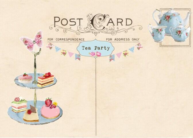 Vintage tea party invitation tea party postcard printable zoom stopboris Gallery