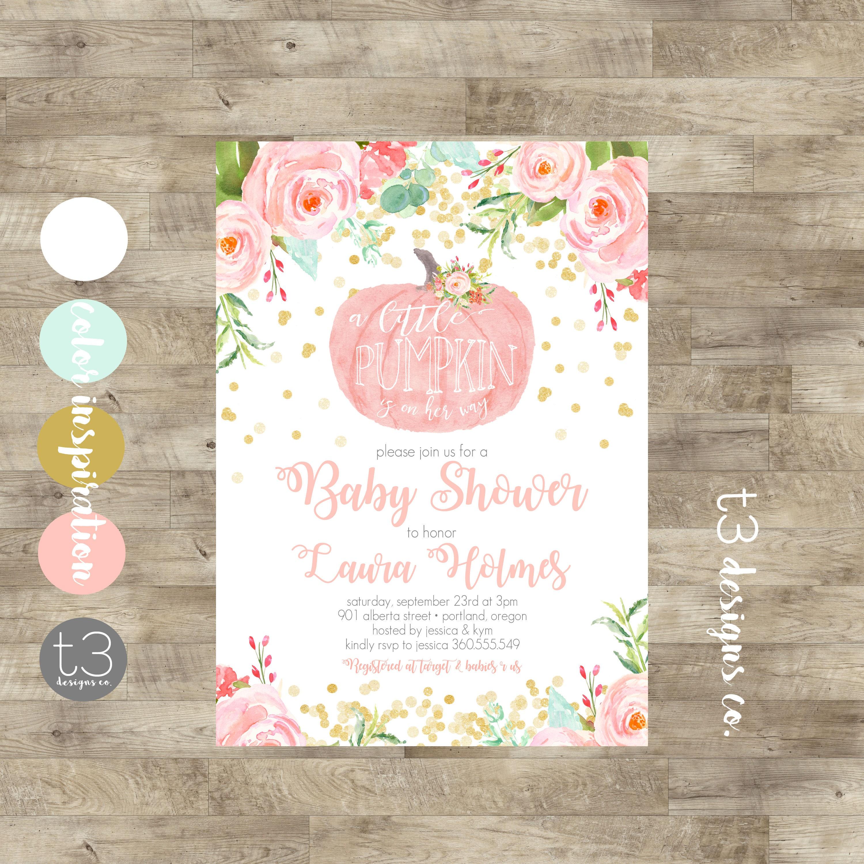 Girl Little Pumpkin Baby Shower Invitation girl baby shower
