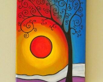 Original Tree of Life Wall Art, Abstract Tree painting, Whimsical Tree Art, Tree wall art, 9x12 inches tree of life and Moon painting