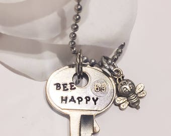 Hand stamped key Bee Happy Key necklace