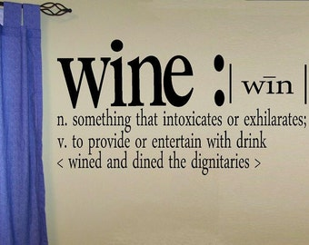 wall decal wine definition kitchen decal dining room decal kitchen decor wine decal wine decor home decor wall decor definition decal quote