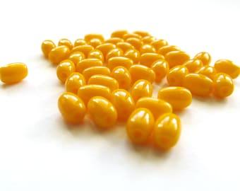 Opaque Sunflower Yellow Rice shaped Czech Glass Beads, 6mm x 4mm - 50 pieces