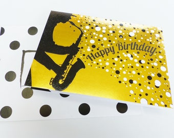 saxophonist silhouette gold and white happy birthday birthday card