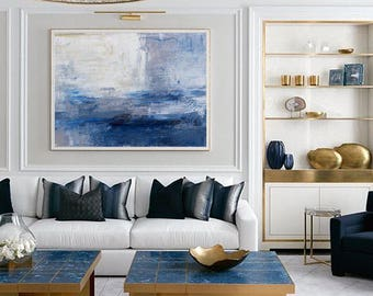 Large wall art, Abstract Painting, Contemporary Art, Abstract art, Landscape oil painting, Canvas art, Large canvas art, Blue Oil Painting