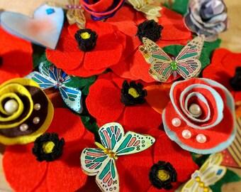 Red Felt Poppy Brooch/Lapel/Accessories Polyester Felt