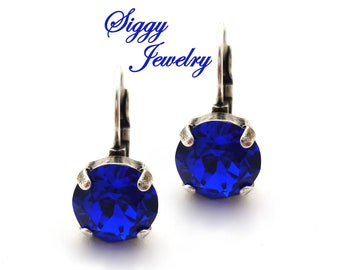 Swarovski® Crystal Earrings, 10mm (45ss) Chatons, MAJESTIC BLUE, Royal Navy Blue, Drop Lever Back, Assorted Finishes, Gift Packaged