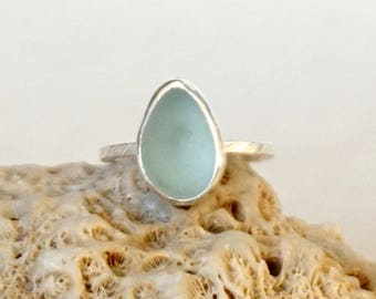 Soft Aqua Blue Sea Glass Stacking Ring, Size 6 1/2 - Genuine Sea Glass, Natural Sea Glass, Beach Glass Ring, Stacking Jewelry, Stacker Ring