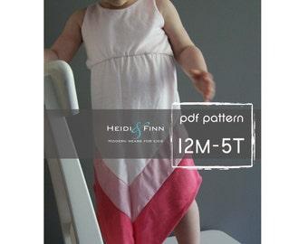 Chevron Dress pattern and tutorial PDF 12m-5t easy sew long tank dress tunic