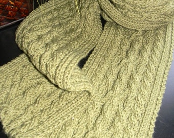 Mens cable knit scarf, unique cable knit wool blend yarn, dusty green wool blend scarf READY to ship