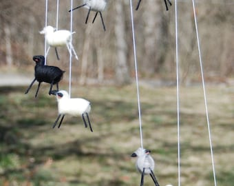 Felted Sheep Mobile Handmade Nursery Baby Gift