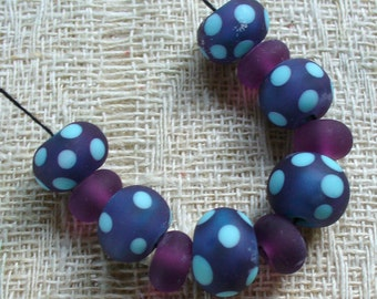 lampwork beads/glass beads/sra lampwork/retro/denim blue/ dots/etched/turquoise/