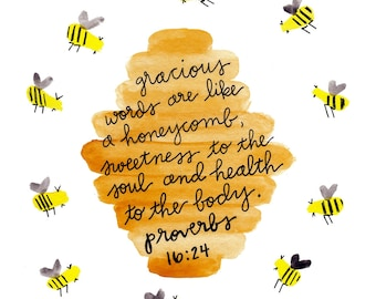 Instant Download, Printable, Bible Verse Wall Art Print, Bee Art Print, Bee Decor, Bible Quote, Watercolor Bee Print, Proverbs 16:24