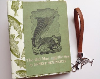 Book Clutch The Old Man and the Sea Hemingway recycled book